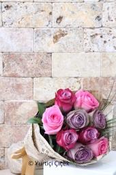 9 adet pembe, mor ve lila gül ile hazırlanan buket tasarımı ile sevdiklerinizi gülümsetecek bir armağana ne dersiniz?